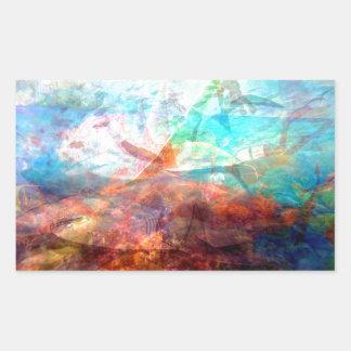 Adesivo Retangular Arte subaquática de inspiração bonita da cena