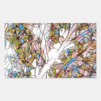 Adesivo Retangular Árvore bonito do vitral Photomanipulatio da vida