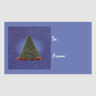 Adesivo Retangular Árvore de Natal verde luxúria no azul abstrato