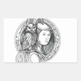 Adesivo Retangular Athena com a coruja no Cir do circuito eletrônico