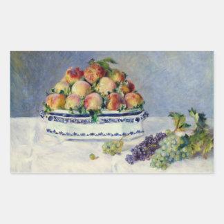 Adesivo Retangular Auguste Renoir - ainda vida com pêssegos e uvas