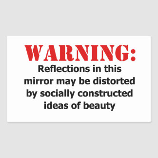 Adesivo Retangular Aviso Corpo-Positivo do espelho