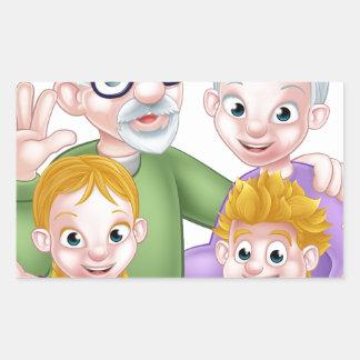 Adesivo Retangular Avós e netos dos desenhos animados