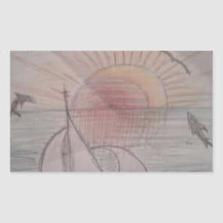 Adesivo Retangular Azul do sol do divertimento