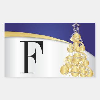 Adesivo Retangular Azul e ouro brilhantes do monograma do Feliz Natal