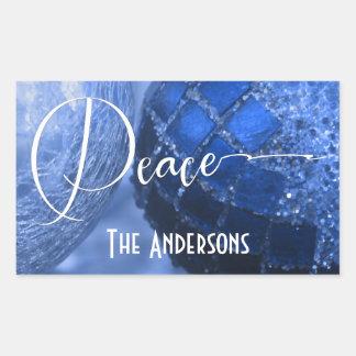 Adesivo Retangular Azul, prata & cumprimento branco da paz por