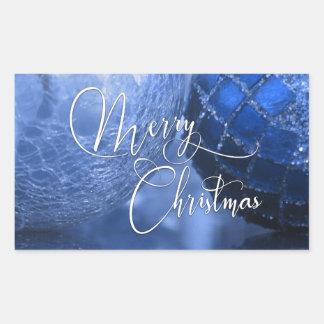 Adesivo Retangular Azul, prata & Feliz Natal branco cumprimentando