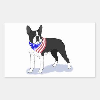Adesivo Retangular Bandanna patriótico da bandeira de Boston Terrier