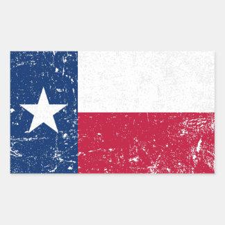 Adesivo Retangular Bandeira afligida de Texas do Grunge