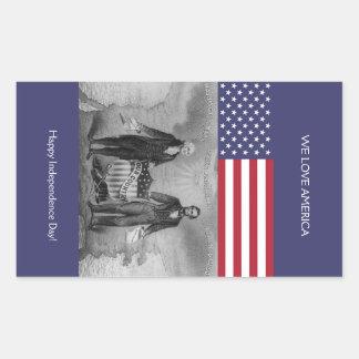 Adesivo Retangular Bandeira americana de George Washington Abraham