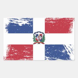 Adesivo Retangular Bandeira da República Dominicana do Grunge