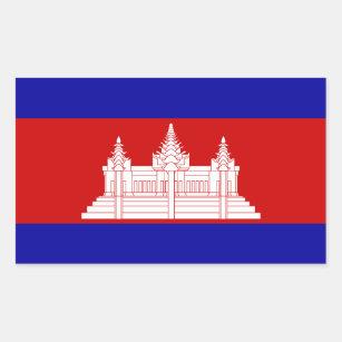 Adesivo Retangular Bandeira de Cambodia