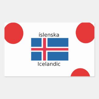 Adesivo Retangular Bandeira de Islândia e design islandês da língua