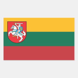 Adesivo Retangular Bandeira de Lithuania com Vytis