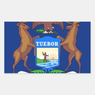 Adesivo Retangular Bandeira de Michigan