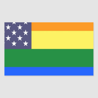 Adesivo Retangular Bandeira do orgulho do arco-íris dos E.U.