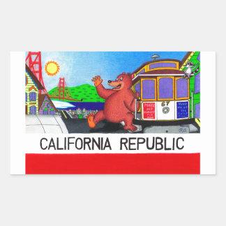 Adesivo Retangular Bandeira do urso de San Francisco Califórnia