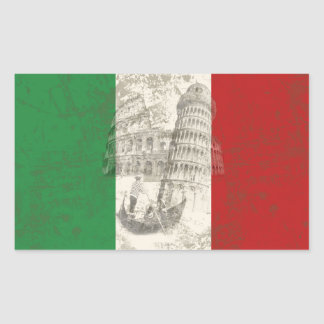 Adesivo Retangular Bandeira e símbolos de Italia ID157