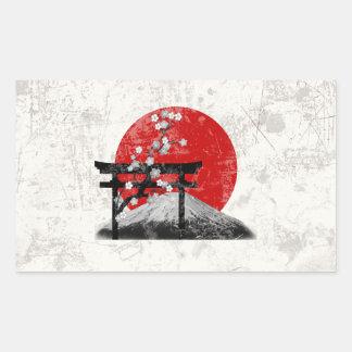 Adesivo Retangular Bandeira e símbolos de Japão ID153