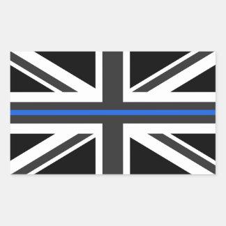 Adesivo Retangular Bandeira fina de Blue Line Reino Unido