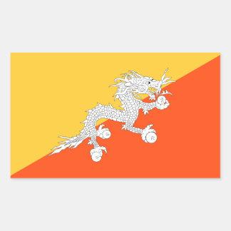 Adesivo Retangular Bandeira nacional do dragão do trovão de Bhutan