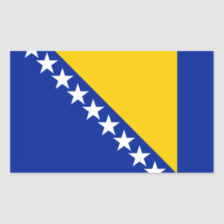 Adesivo Retangular Bandeira patriótica de Bósnia - de Herzegovina