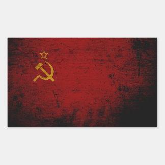 Adesivo Retangular Bandeira preta de União Soviética do Grunge