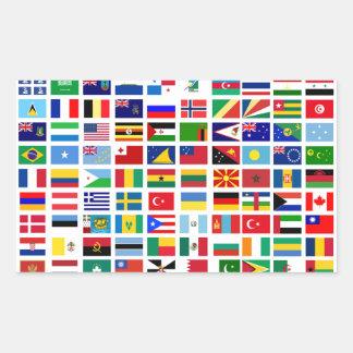 Adesivo Retangular bandeiras do mundo contra o branco