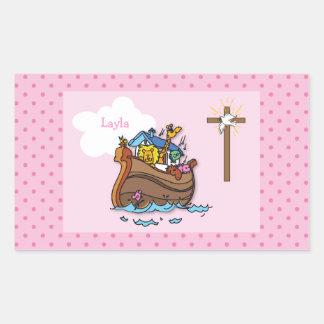 Adesivo Retangular Baptismo customizável do bebê da arca de Noah,