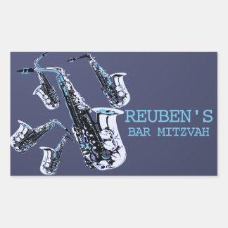 Adesivo Retangular Bar Mitzvah do saxofone