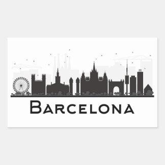 Adesivo Retangular Barcelona, espanha skyline preta & branca de | da