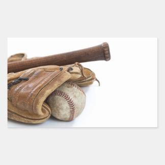 Adesivo Retangular Basebol e bastão do vintage