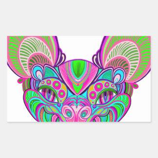 Adesivo Retangular Bastão psicadélico do arco-íris