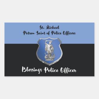 Adesivo Retangular Bênçãos de St Michael ao agente da polícia novo