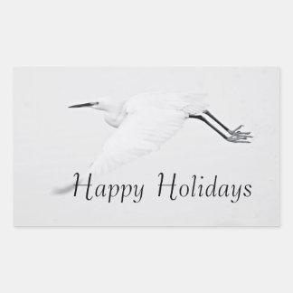 Adesivo Retangular Benevolência de um Egret boas festas