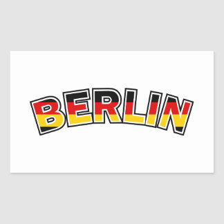 Adesivo Retangular Berlin, Germany, text with Germany flag colors