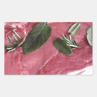 Adesivo Retangular Bife marmoreado cru fresco da carne