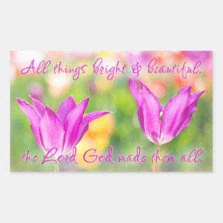 Adesivo Retangular Birthday>Christian>Tulips> brilhante & bonito