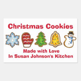 Adesivo Retangular Biscoitos do Natal feitos com o mitene do boneco