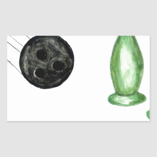 Adesivo Retangular Bola de boliche Sketch3
