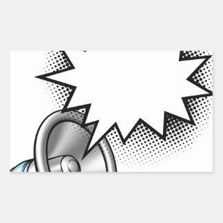Adesivo Retangular Bolha do discurso da banda desenhada do megafone