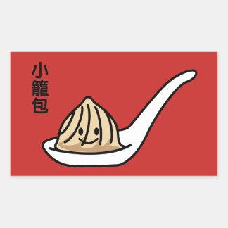 Adesivo Retangular Bolo chinês de Dim Sum da bolinha de massa da sopa