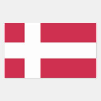 Adesivo Retangular Bom impressão da bandeira de Dinamarca da cor