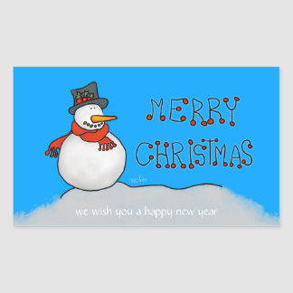 Adesivo Retangular Boneco de neve do Feliz Natal