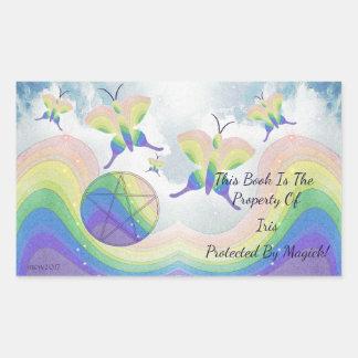 Adesivo Retangular Bookplate do Pentacle da borboleta do arco-íris