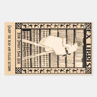Adesivo Retangular Bookplate moderno v1 do vintage personalizado