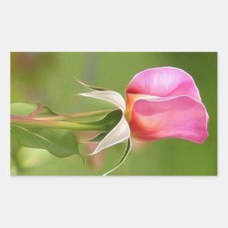 Adesivo Retangular Botão solitário do rosa do rosa