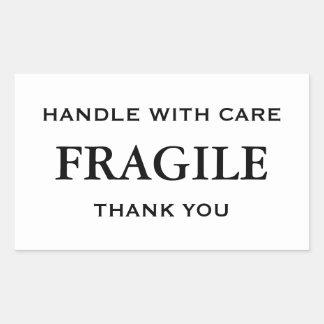 Adesivo Retangular Branco/preto frágil. Punho com cuidado. Obrigado