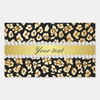 Adesivo Retangular Brilho do ouro do falso do leopardo e preto da
