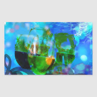 Adesivo Retangular Brindando vidros e notas da música